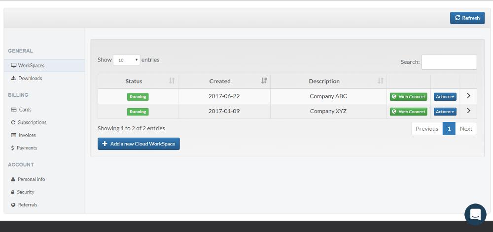 v2 cloud dashboard