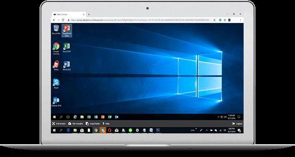 Laptop with a cloud desktop interface showing multiples apps