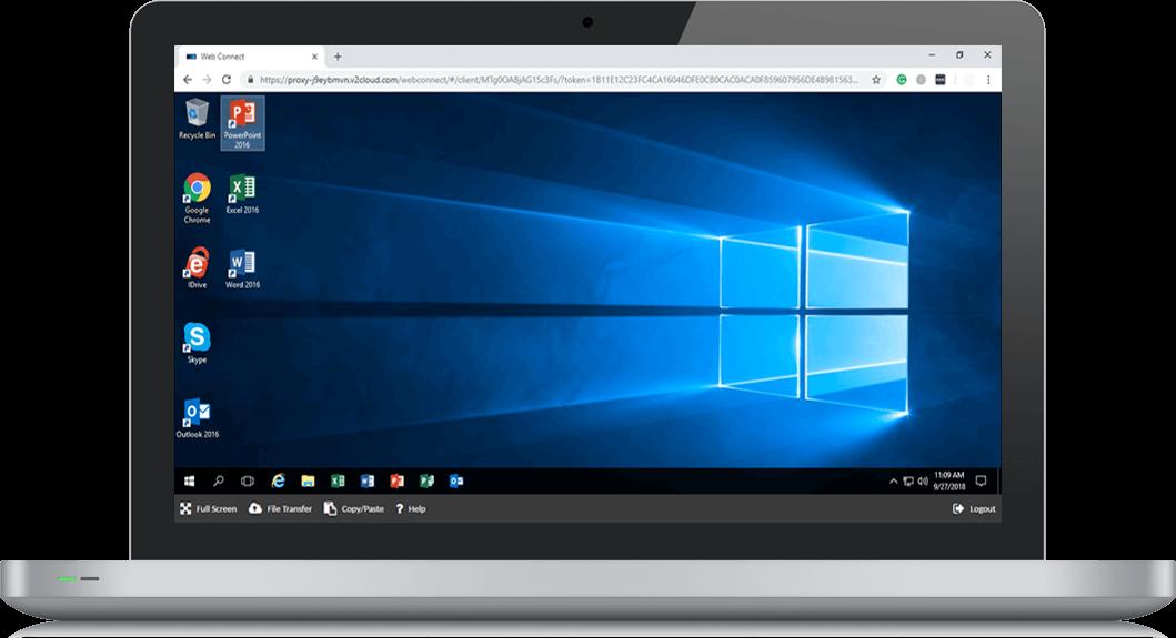 computer showing our virtual desktop solution
