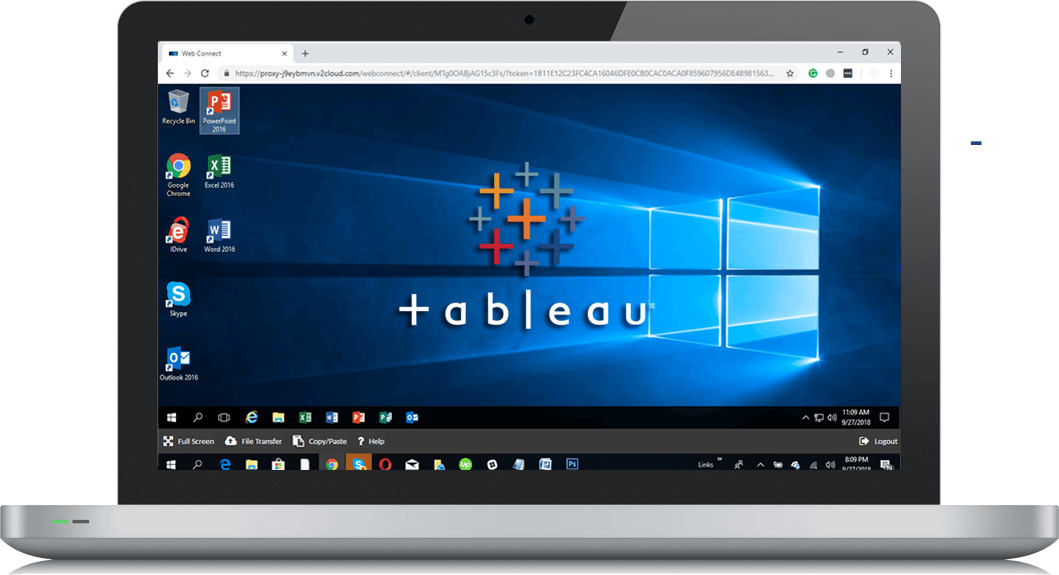 Laptop screen showing a windows published app of tableau cloud hosting