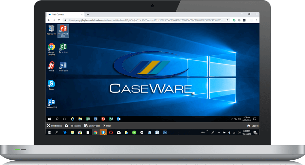 Laptop screen showing the caseware logo