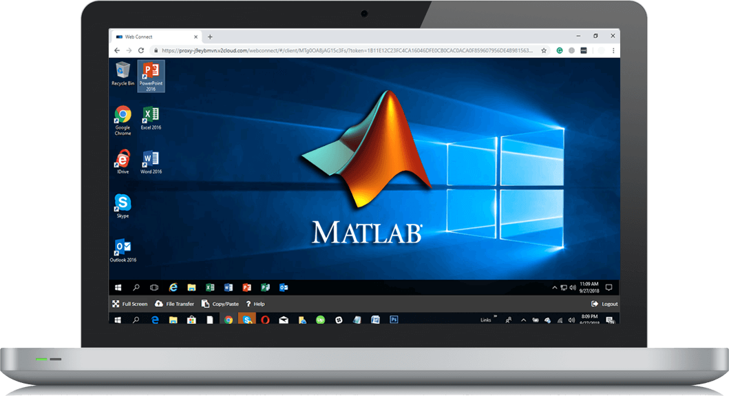 Laptop screen showing a windows published app of MATLAB