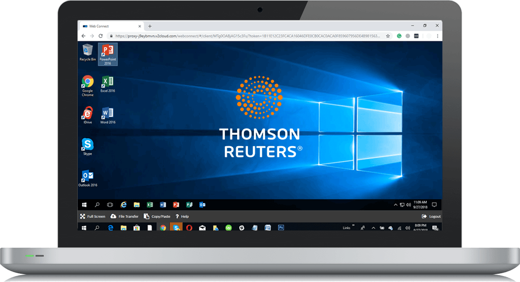 Laptop screen showing a windows published app of Thomson Reuters