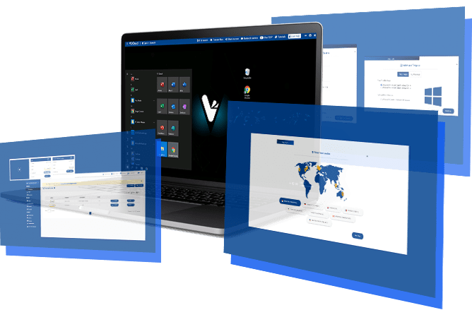 three cloud desktops showing different applications and desktops you can access with V2 Cloud